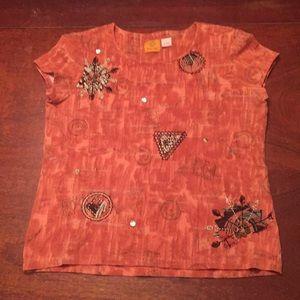 Orange Ruby Rd. Appliqué Shirt